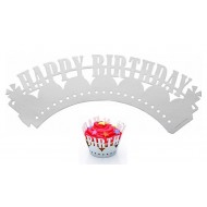 KITCHEN KRAFT 12 PORTA CUPCAKE ARGENTO - HAPPY BIRTHDAY
